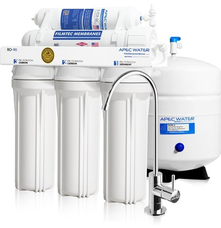 APEC Water Certified Ultra Safe, High-Flow 90 GPD Reverse Osmosis Drinking Water Filter System (RO-90)